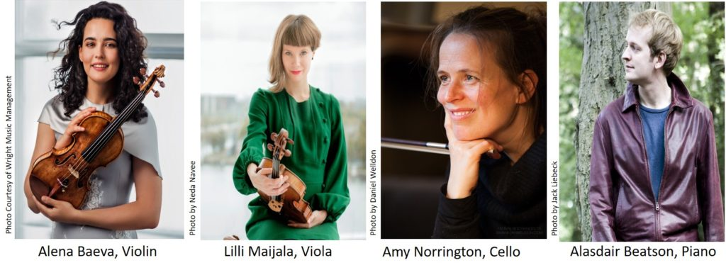A photograph of violinist Alena Baeva, viola player Lilli Maijala, cellist Amy Norrington and pianist Alasdair Beatson