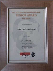 A photograph of the certificate awarded to Concerts for Craswall Founder Sue Norrington winner of the Elgar in Hereford Award