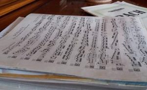 A pile of sheet music