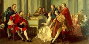 A picture of musicians in early dress playing in a drawing room